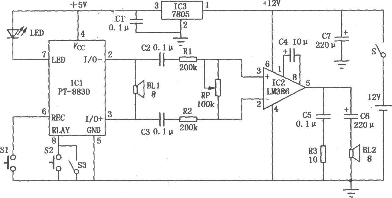 电子呼喊器电路图