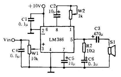 LM386的微机平面声功放电路原理图