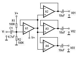 交流信号三分配放大器