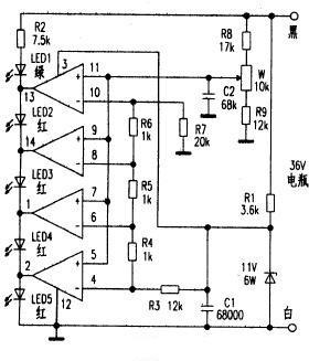 LM339制成的电量显示部分电路图